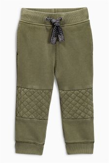 Khaki Quilted Knee Joggers (3mths-6yrs)