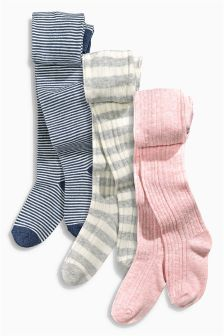 Pink Pretty Cable And Stripe Tights Three Pack (0mths-6yrs)