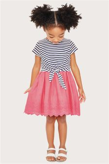 Navy/Pink Stripe Dress (3mths-6yrs)