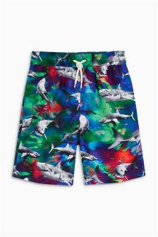 Bright Shark Print Swim Shorts (3-16yrs)