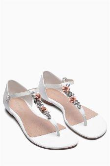 White Flower Jewel Sandals