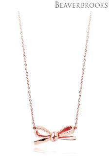 Beaverbrooks Silver Rose Gold Plated Bow Necklace