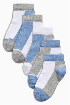 Blue Trainer Socks Five Pack (0-12mths)