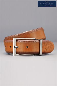 Signature Italian Leather Reversible Brogue Detail Belt