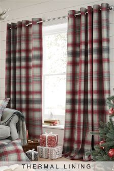 Thermal Red Cosy Check Eyelet Curtains