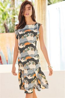 Multi Cloud Print Dress