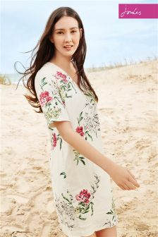 Cream Joules Kate Floral Woven Dress