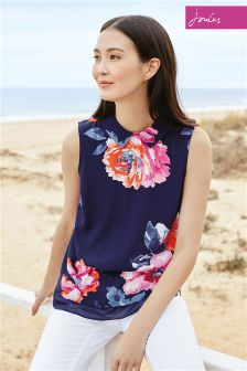 Navy Joules Lilias Rose Woven Top