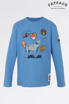 Fat Face Cobalt Long Sleeve Wolf Tee