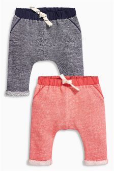 Red/Navy Jersey Joggers Two Pack (0mths-2yrs)