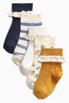 Navy Pretty Frill Socks Five Pack (Younger Girls)