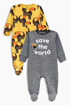 Toucan Sleepsuits Two Pack (0mths-2yrs)