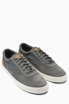 Canvas And Suede Sport Trainer