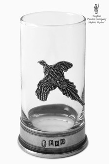 English Pewter Company 11oz Whisky Tumbler With Pheasant Emblem