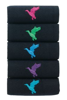 Duck Embroidery Socks Five Pack