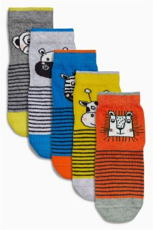 Animal Stripe Socks Five Pack (Younger Boys)