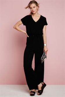 Black Pique Viscose Wide Leg Jumpsuit