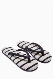 Stripe Toe Thong Slippers