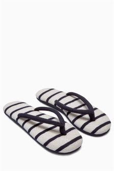 Black And White Stripe Toe Thong Slippers
