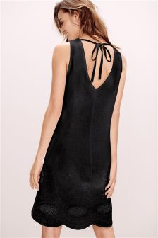 Black Linen Blend V Back Broderie Dress