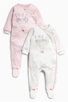 Pink/Cream Mum And Dad Sleepsuits Two Pack (0mths-2yrs)