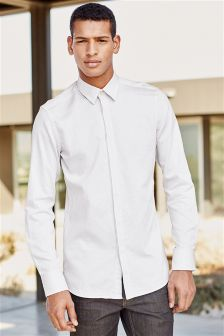 Concealed Placket Textured Shirt