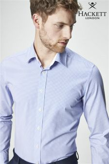 Hackett Blue Cross Hatch Print Shirt