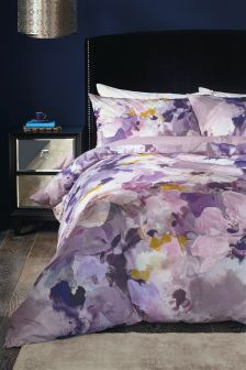Cotton Sateen Blurred Floral Bed Set