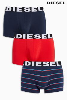 Diesel Navy/Red Stripe Trunks Three Pack