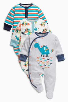 Grey Dinosaur Sleepsuits Three Pack (0mths-2yrs)
