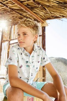 White Print Shirt (3-16yrs)