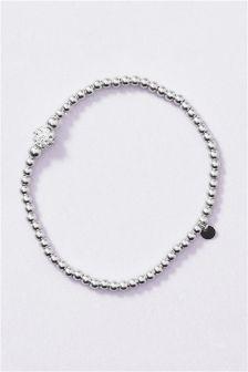 Silver Sterling Silver Pave Ball Expander Bracelet