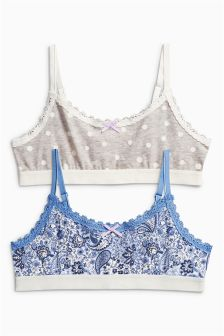 Blue/White Paisley Print Crop Tops Two Pack (Older Girls)