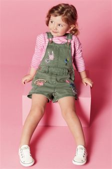 Khaki Badge Embellished Dungarees (3mths-6yrs)