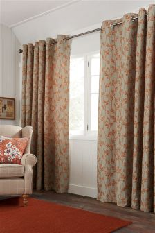 Orange Leaf Jacquard Eyelet Curtains