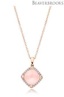 Beaverbrooks 9ct Rose Gold Diamond Quartz Pendant