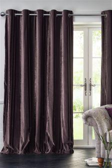 Plush Tonal Velvet Stripe Eyelet Curtains