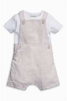 Neutral Stripe Dungarees (0mths-2yrs)