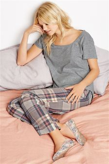 Grey And Pink Check Pyjamas
