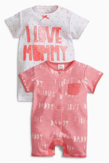 Pink Mum And Dad Rompers Two Pack (0mths-2yrs)