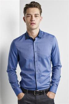 Contrast Collared Slim Fit Shirt