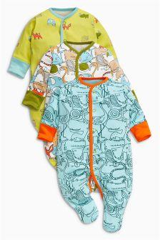 Safari All-Over Print Sleepsuits Three Pack (0mths-2yrs)