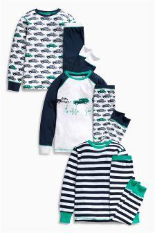 Retro Car Pyjamas Three Pack (9mths-8yrs)