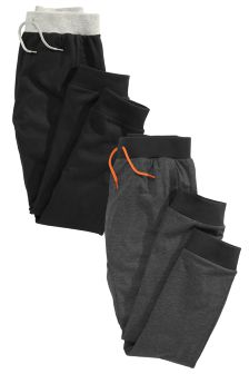 Grey/Black Drop Crotch Joggers Two Pack (3-16yrs)