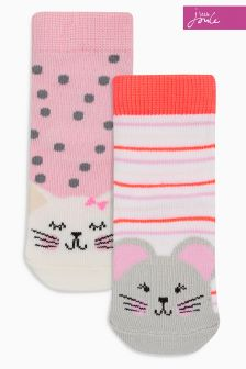 Joules Baby Pink Cat And Mouse Socks Two Pack