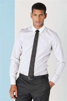 Striped White Collar Shirt and Tie Set