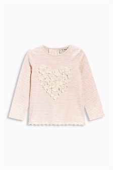 Pink Embellished Heart Top (3mths-6yrs)