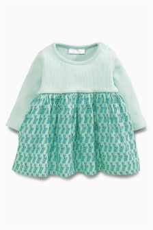 Mint Bunny Print Dress (0mths-2yrs)