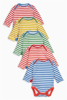 Stripe Long Sleeve Bodysuits Five Pack (0mths-2yrs)