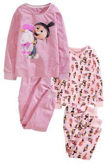 Two Pack Pink Agnes Pyjamas (3-12yrs)